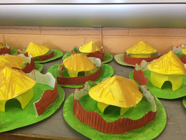 Mrs Dunleavy's Class made Celtic Roundhouses in Art.