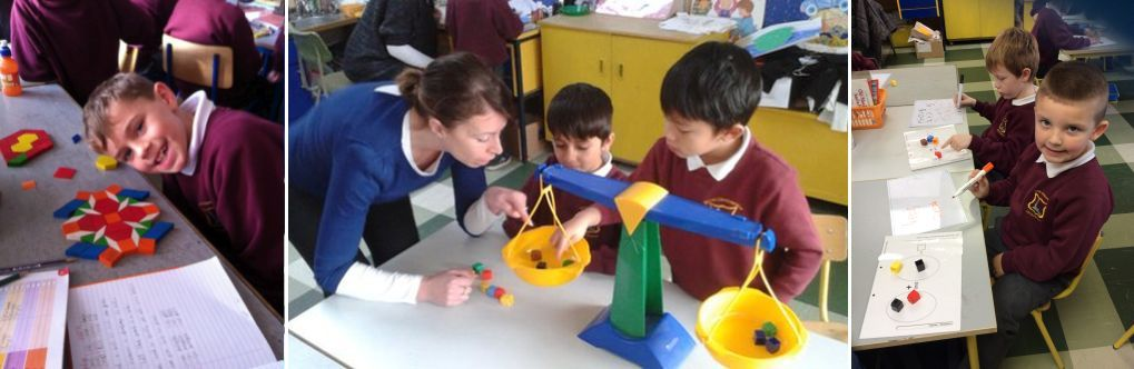Working with 2-d Shapes and Measures - Using cubes during Maths lesson